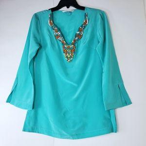 Trina Turk beaded silk top size S